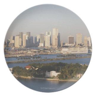 USA, Florida, Miami, Cityscape with coastline Plate