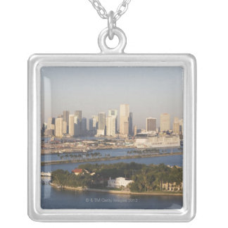 USA, Florida, Miami, Cityscape with coastline Silver Plated Necklace