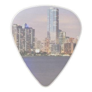 USA, Florida, Miami skyline at dusk 2 Acetal Guitar Pick
