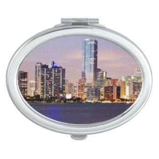 USA, Florida, Miami skyline at dusk 2 Compact Mirror