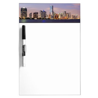 USA, Florida, Miami skyline at dusk 2 Dry Erase Board