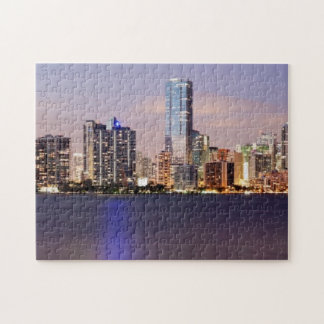 USA, Florida, Miami skyline at dusk 2 Jigsaw Puzzle