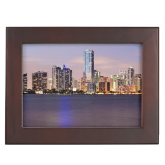 USA, Florida, Miami skyline at dusk 2 Keepsake Box