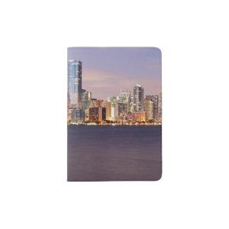 USA, Florida, Miami skyline at dusk 2 Passport Holder