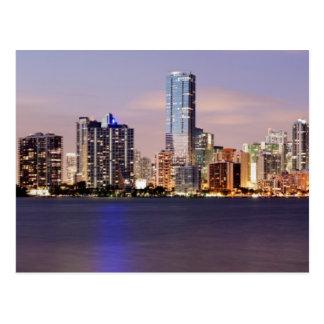 USA, Florida, Miami skyline at dusk 2 Postcard