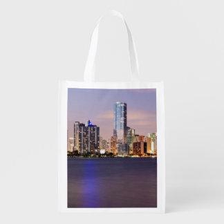 USA, Florida, Miami skyline at dusk 2 Reusable Grocery Bag