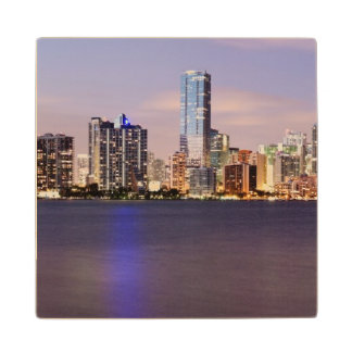 USA, Florida, Miami skyline at dusk 2 Wood Coaster