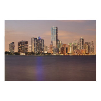 USA, Florida, Miami skyline at dusk 2 Wood Print