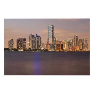 USA, Florida, Miami skyline at dusk 2 Wood Prints