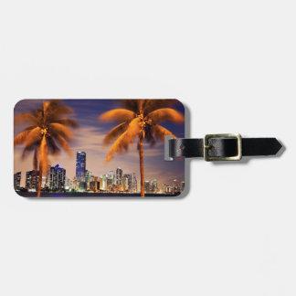 USA, Florida, Miami skyline at dusk Bag Tag