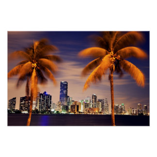 USA, Florida, Miami skyline at dusk Poster