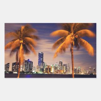 USA, Florida, Miami skyline at dusk Rectangular Sticker