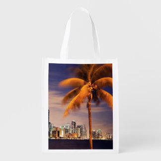 USA, Florida, Miami skyline at dusk Reusable Grocery Bag