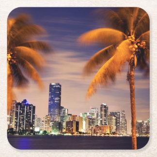 USA, Florida, Miami skyline at dusk Square Paper Coaster