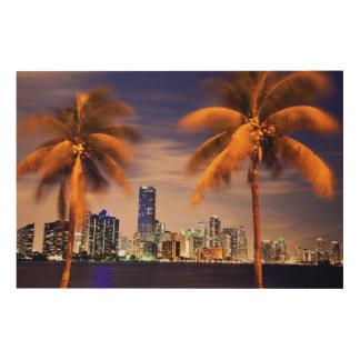 USA, Florida, Miami skyline at dusk Wood Print