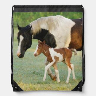 USA, Florida, Newborn Paint filly Drawstring Bag