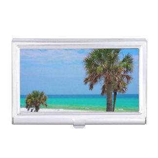USA, Florida. Palm Trees On Emerald Coast Business Card Holder