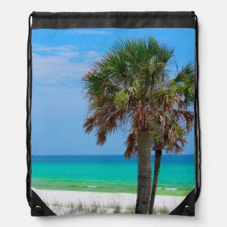 USA, Florida. Palm Trees On Emerald Coast Drawstring Bag
