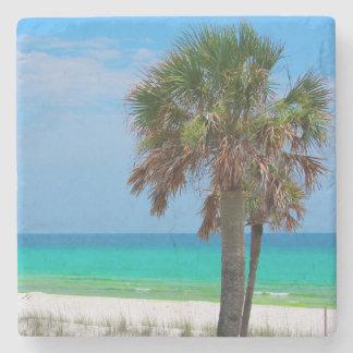 USA, Florida. Palm Trees On Emerald Coast Stone Coaster