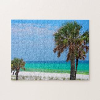 USA, Florida. Palm Trees On Emerald Coast Jigsaw Puzzle