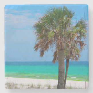 USA, Florida. Palm Trees On Emerald Coast Stone Coaster