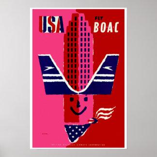 USA ~ Fly BOAC Poster