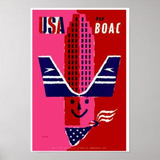 USA ~ Fly BOAC Print
