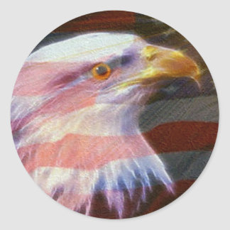 USA  / Fly With The Eagles Round Sticker