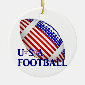 USA Football (1) With Text Round Ceramic Decoration