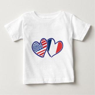 USA France Love Heats Baby T-Shirt