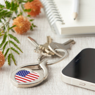 USA Freedom Flag Key Chain Silver-Colored Twisted Heart Key Ring