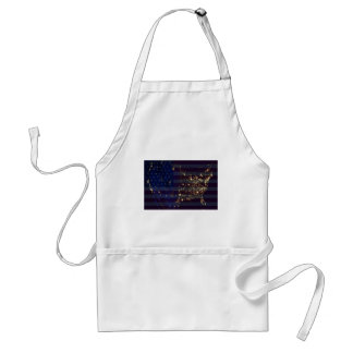 USA From Space At Night and US Flag.jpg Apron