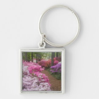 USA; Georgia; Pine Mountain. Azaleas at 2 Silver-Colored Square Key Ring