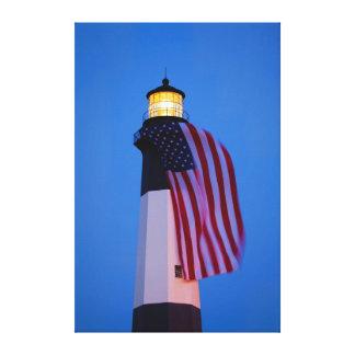 USA, Georgia, Tybee Island, Flag Flying 2 Gallery Wrapped Canvas