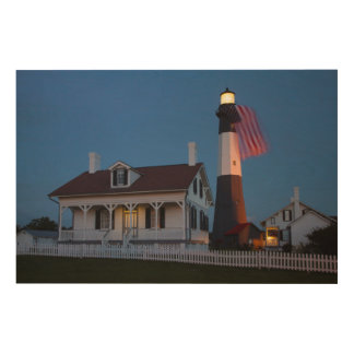USA, Georgia, Tybee Island, Flag Flying Wood Print