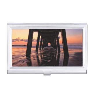USA, Georgia, Tybee Island, Pier At Tybee Island Business Card Holder
