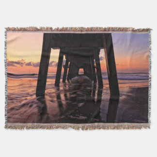 USA, Georgia, Tybee Island, Pier At Tybee Island Throw Blanket