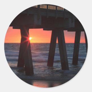 USA, Georgia, Tybee Island, Tybee Pier Round Sticker