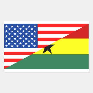 usa ghana country half flag america symbol rectangular sticker