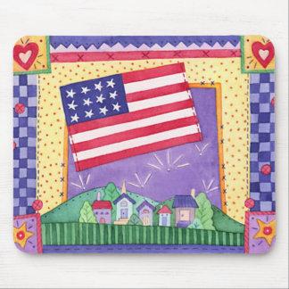 USA-Gingham Flag Mouse Mat