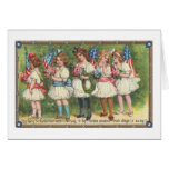 USA Girls with Flags Vintage Americana Cards