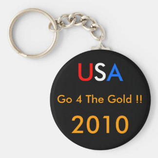 USA Go 4 The GOLD !! 2010 Basic Round Button Key Ring