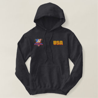 USA Gold Pocket Bald Eagle Liberty Or Death Embroidered Hoodie