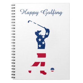 USA golf America flag golfer Notebooks