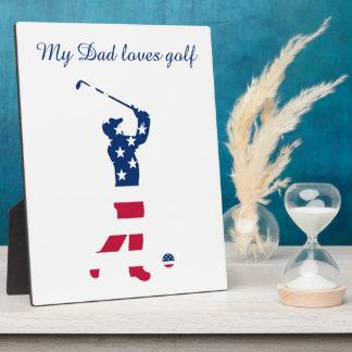 USA golf America flag golfer Photo Plaque