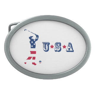 USA golf American flag golfer Belt Buckles