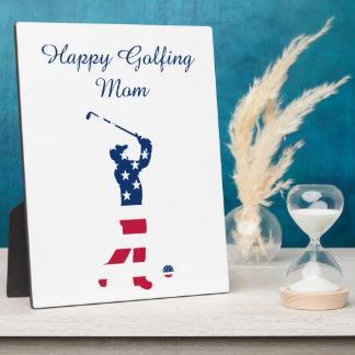 USA golf American flag golfer Display Plaque