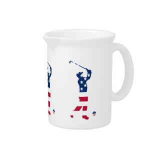 USA golf American flag golfer Drink Pitcher