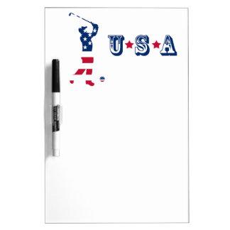 USA golf American flag golfer Dry Erase Board