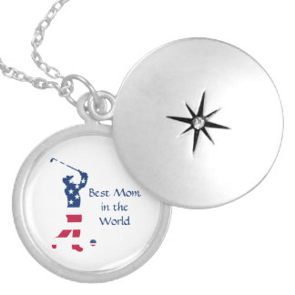 USA golf American flag golfer Locket Necklace